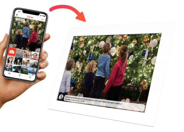 stuur je kerstfoto's van je telefoon naar de Kiki&Co fotolijst
