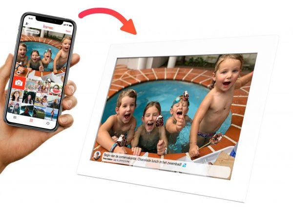 Deel met de digitale fotolijst met wifi